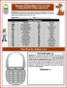 Lesson Plan: Because of Winn Dixie Text Messaging Reading Comprehension Activity WorksheetCommon Core Reading Standards: 2,3,5,6This is a 5-p...