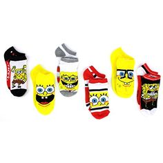 5328b48f9 Amazon.com  Spongebob Boys 6 pk Ankle Socks (4-6 (Shoe  7-10)