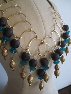 Multi blue gold mala drop necklace