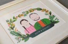 Custom Couple Illustration Engagement Gift by mintybasildesign, $150.00