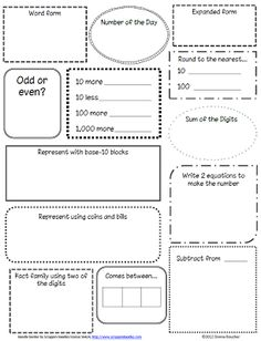 Calendar Math Math Coachs Corner: Another Day, Another Number. Number of the day routine. Math Worksheets, Math Resources, Math Activities, Maths Fun, Primary Maths, Math Games, Math Coach, Second Grade Math, Grade 2