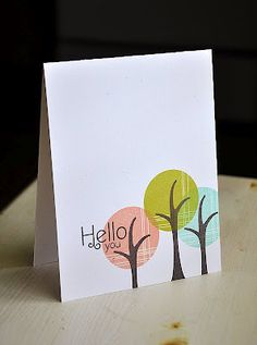 Trendy Tree Tops Hello You Card by Maile Belles for Papertrey Ink (April 2012)