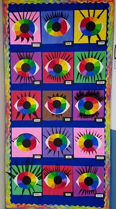 First students identified and labeled a 12 part color wheel using crayons. Then they painted the primary, secondary and intermediate colo. Color Wheel Lesson, Color Wheel Projects, Color Wheel Art, Fall Art Projects, Secondary Color Wheel, Primary And Secondary Colors, Color Art Lessons, Art Lessons For Kids, Elementary Art Rooms