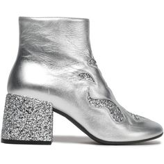 MM6 MAISON MARGIELA   Cutout glittered metallic leather ankle boots (925 BRL) ❤ liked on Polyvore featuring shoes, boots, ankle booties, cut out booties, cut-out ankle boots, cut-out booties, cutout ankle booties and leather cutout booties