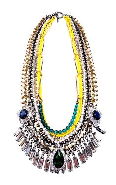 Crystal Drop And Metal Chain Necklace by Venna for Moda Operandi