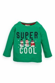 "Buy Green ""Super Cool"" Snowman Top (3mths-6yrs) from the Next UK online shop"