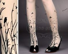 fabulous FOREST SYMPHONY tattoo thighhigh nylons by tattoosocks, $21.00,  Okay, I Don't Like Tatoos AT All... But That Looks Way Cool With The Shoes.