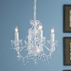 Vintage Style Painted Metal and Crystal Chandelier - 4 light
