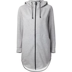THE RERACS - Long Zipped Cotton-Blend Hoodie - 15SS-RECS-042L TOPGRAY... ($429) ❤ liked on Polyvore featuring tops, hoodies, jackets, casacos, hoodie top, zippered hooded sweatshirt, long tops, zip top and zip hoodies