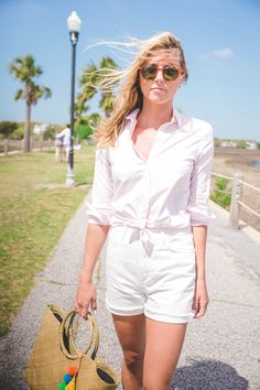 Tie your button down over your white shorts for an easy and effortless spring look.