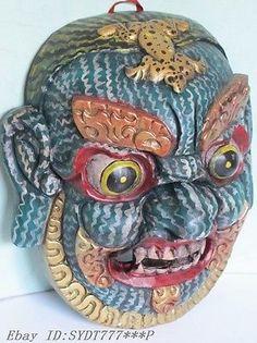 """11.5""""Tibet Tibetan Wood color carving Mahakala face Mahahala mask sculpture"""