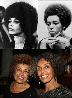 Angela Davis and her sister Fania Davis Jordan - then and now