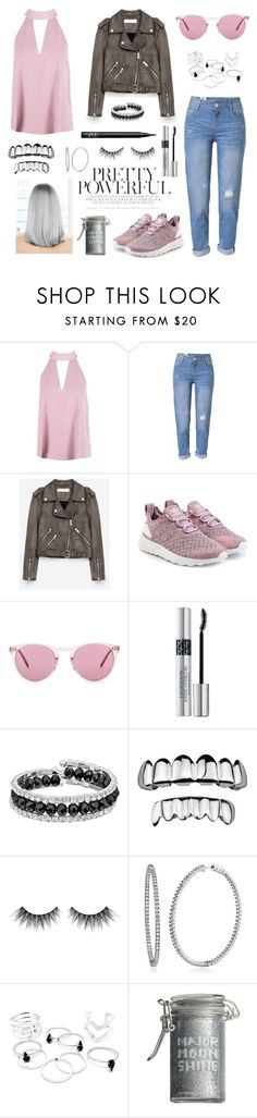 """""""Pink Inspiration"""" by numeroooo1 ❤ liked on Polyvore featuring Boohoo, WithChic, adidas Originals, Oliver Peoples, Christian Dior, Franco Gia, Huda Beauty, BERRICLE, Major Moonshine and NARS Cosmetics"""