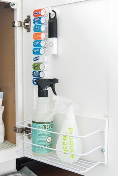 How to organize under the kitchen sink. Get rid of all the clutter and create a functional and beautiful organized cabinet. Learn exactly what organizing products to buy. Ikea Under Sink Storage, Under Kitchen Sink Organization, Under Kitchen Sinks, Kitchen Sink Storage, Kitchen Drawers, Organization Ideas, Armoire, Airtight Food Storage Containers, Sink Organizer