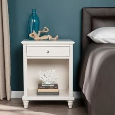 petite Copper Grove Schwechat White Nightstand w/ USB Ports (As Is Item), Brown Coastal Furniture, Shabby Chic Furniture, Living Room Furniture, Copper Bedroom, White Nightstand, Guest Bedrooms, Master Bedroom, Bedroom Decor, Bedroom Ideas