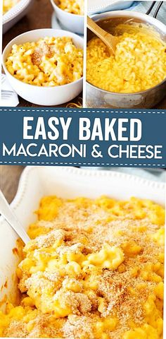 This Easy Baked Macaroni and Cheese recipe is a family favorite recipe Its perfectly cheesy and can be eaten directly from the stovetop or baked to a crispy perfection. Easy Baked Macaroni And Cheese Recipe, Best Mac N Cheese Recipe, Best Macaroni And Cheese, Easy Mac And Cheese, Macaroni Recipes, Mac Cheese Recipes, Mac And Cheese Homemade, Baked Cheese, Mac And Cheese Recipe With Sour Cream