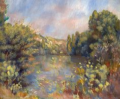 Painting Title: Lakeside Landscape, c.1889 | Artist: Pierre-Auguste Renoir (1841-1919).