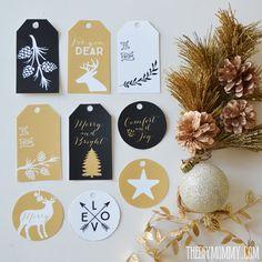 Black, white and gold free printable Christmas gift tags