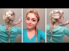 "Elsa hair tutorial from Disney's ""Frozen"" - YouTube. I'm so jealous of how thick this girl's hair is."