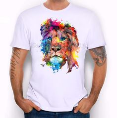 Colourful Lion Design T-Shirt For Men's High Quality - GET IT NOW CLICK HERE http://stylishaccessory.com/colourful-lion-design-t-shirt-for-mens-high-quality/