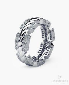 CRISSON Mens Gold Wedding Band with Diamonds