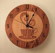 10.5 inch Oak Coffee cup clock Teacup clock by BunBunWoodworking
