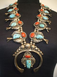 Exquisite Vintage NAVAJO Sterling Silver TURQUOISE CORAL Squash Blossom Necklace #TurquoiseKachina, $2774.10