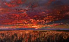 Sunset oil painting Lindy Wiese Palette knife Art