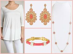 Fornash Peach Cabana Earrings and Regatta Bracelet #Cinnaryn