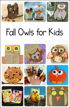 Great for a theme about owls or nocturnal animals! Collection of 24 owl crafts and activities for kids. Lots of fall fun! Includes a HUGE $500 GIVEAWAY until October 15, 2014!!