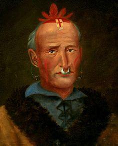 Un Capo degli Ojibbeway (Southeastern Ojibway). Indossava un ornamento sulla fronte e un anello a naso. Sembra una copia del ritratto di Kisshkallowa degli Shawnee, litografia da un dipinto di C.B. King.