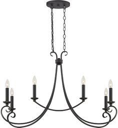 6 light rectangular chandelier
