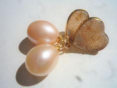 Freshwater Pearl earrings, Druzy heart earrings, Vermeil pearl  earrings, Romantic Pearl earrings,Wedding earrings