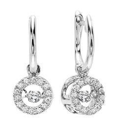 14k white gold 1cttw circle rhythm of love diamond drop earrings