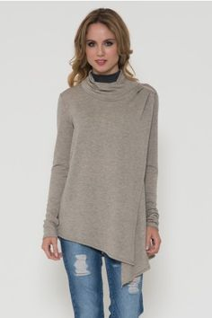 French Terry Shoulder Drape Cardigan