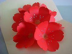 Lin Handmade Greetings Card: Red cherry blossoms pop up card Pop Up Flower Cards, Pop Up Flowers, Pop Up Cards, Diy Flowers, Paper Flowers, Red Cherry Blossom, Blossom Flower, Handmade Greetings, Greeting Cards Handmade