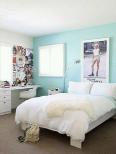 Imagem de room, bedroom, and blue