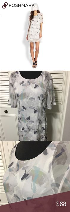 """Theory Silk Amola Louisiane Dress Like New 100% Silk Chiffon, silk lining dress with muted abstract pattern, simply cut, soft curve shapes bottom hem, scoop neckline completes the silhouette. elbow length sleeves, pullover style. Length 33"""" Theory Dresses"""