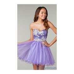 Short Strapless Purple Prom Dress (365 PLN) ❤ liked on Polyvore featuring dresses, short homecoming dresses, plus size dresses, plus size homecoming dresses, short formal dresses and plus size evening dresses