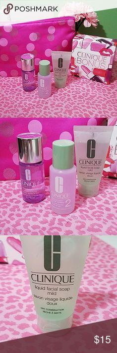 💜Clinique Bundle💜NEW Make up remover Clarifying lotion Liquid facial soap  Clinique Make up Bag Clinique Makeup