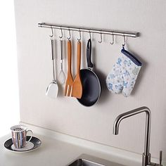 Stainless Steel Kitchen 24Inch Hanging Rod with 8 Hooks - USD $ 19.99