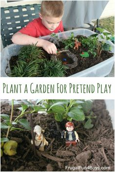 Plant a garden in a tub for pretend play