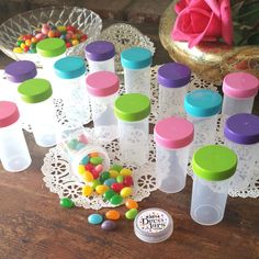 20 Birthday Party Jars Pill Bottles Wedding Pink Aqua Green Purple Caps 3814 NEW #Decojars #PartyWeddingBirthdayShowers