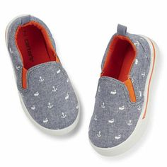 Whale & Anchor Print Slip On Shoe (grey and white) - Carter's