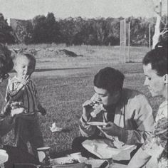 Bruce Lee with family having a Picnic