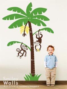 Jungle Monkeys Nursery Growth Chart  Vinyl Wall by smileywalls, $74.50