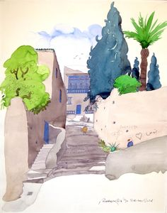 Sidi Bou Said, Tunisia Landscape Drawings, Watercolor Landscape, Watercolor Paintings, Sidi Bou Said, Urban Sketching, North Africa, Illustrators, Contemporary Art, Art Gallery