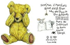 Signed and mounted fine art print on premium quality textured heavy weight art paper X X - X X - greetings cards with envelope X X - Monster Under The Bed, Bear Paintings, Bear Drawing, Doodle Doo, Love Bear, Tole Painting, Sign Printing, Wood Art, Winnie The Pooh