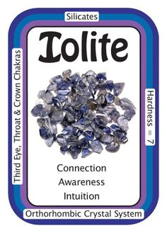 "Crystal Card of the Day: Iolite, ""I trust in my own actions."" Iolite is a stone of the Third-Eye Chakra, and to a lesser extent, the Crown Chakra. Iolite is very spiritutally oriented and can bring visions when placed on the Third-Eye. You can also use tumbled iolite for dreamwork by placing it under your pillow. Iolite is said to help bring intuition and insights to the person working with this crystal. Iolite strengthens the aura, and acquires an electric charge when in contact with it…"