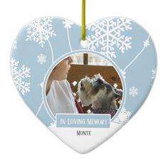In Loving Memory Pet Photo Christmas Heart Ceramic Ornament - holidays diy custom design cyo holiday family